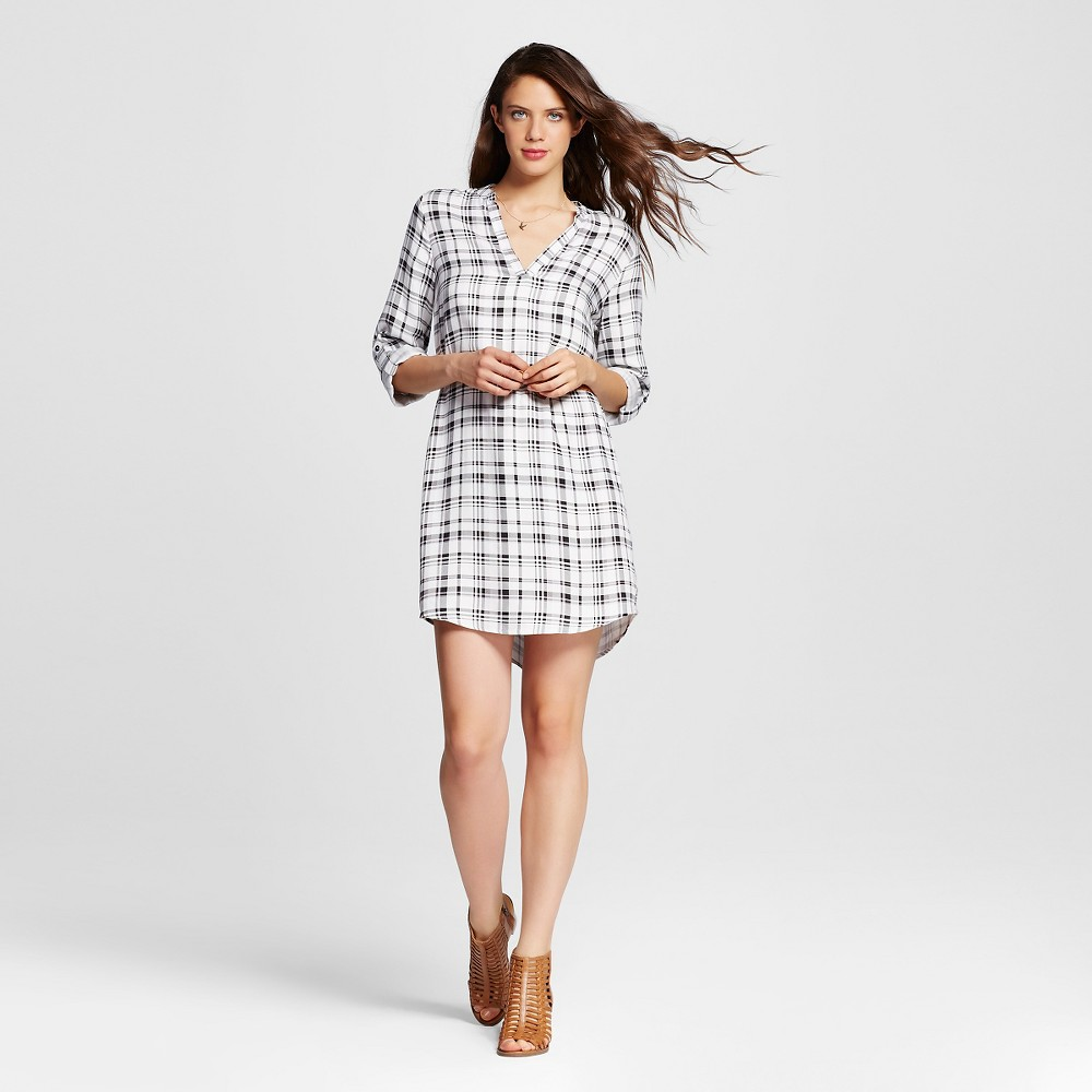 Womens Plaid Belted Popover Shirt Dress - Almost Famous (Juniors) Black/White L