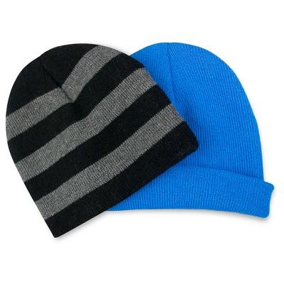 Toddler Boys' 2-Pack Solid/Stripe Knit Hat Set Blue - Cat & Jack&#153