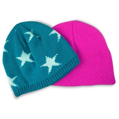 Toddler Girls' 2-Pack Solid/Star Print Knit Hat Set Cat & Jack™ - Aqua/Pink