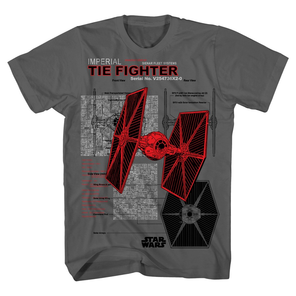 Star Wars Imperial Ties Fighter Boys Graphic T-Shirt - Charcoal XS, Gray