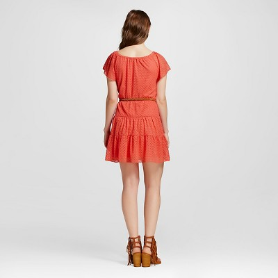 Women's Off the Shoulder Lace Belted Dress Coral (Pink) XS - 3Hearts (Juniors')