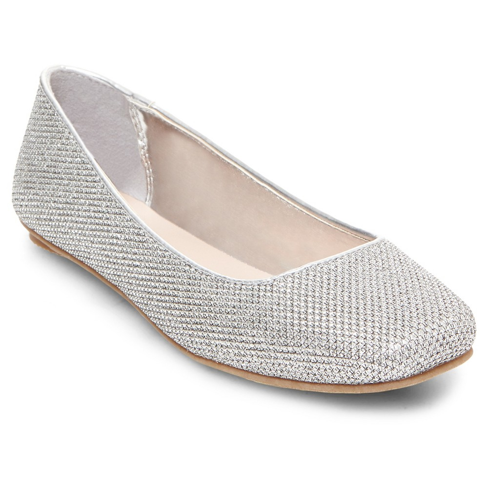 Girls Alea Embellished Glimmer Ballet Flats Tevolio - Silver 1