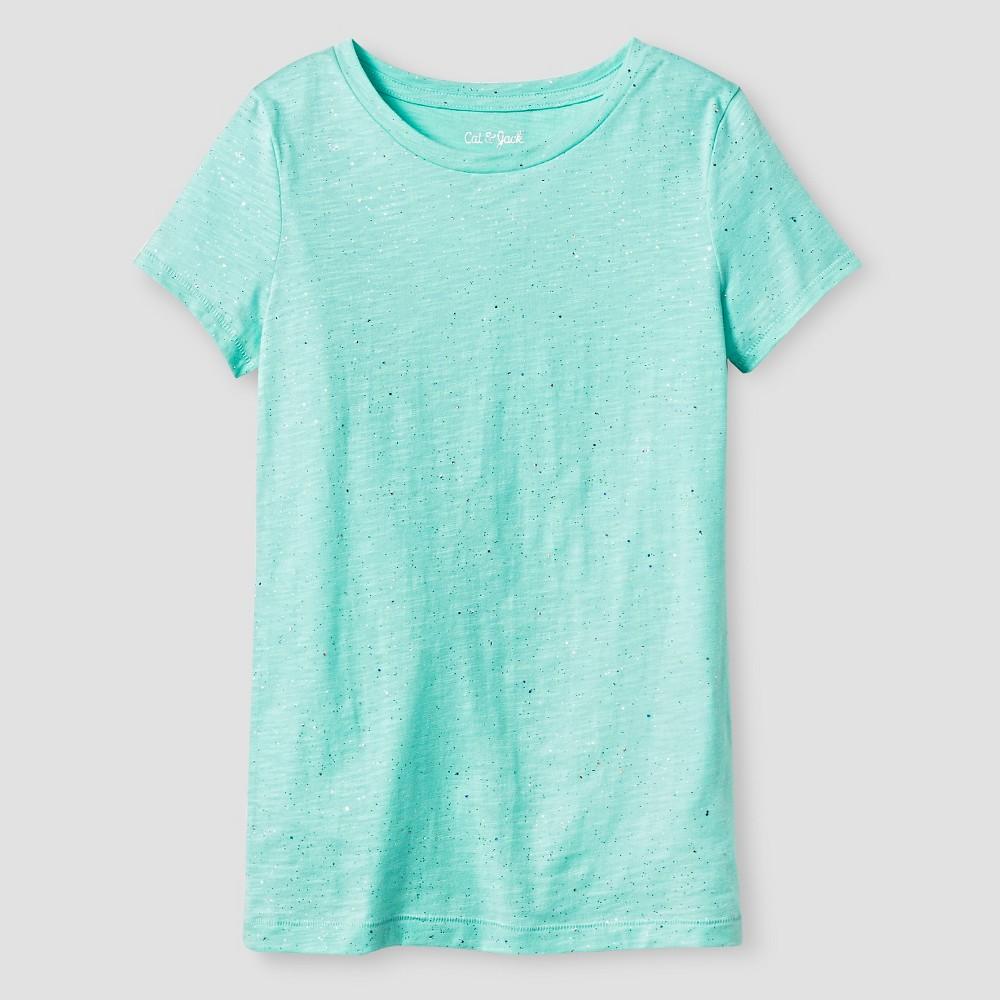 Plus Size Girls Crew-Neck T-Shirt - Cat & Jack Mint (Green) Sparkle M Plus