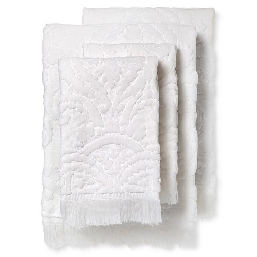 Montfort Textured Bath Towel Set of 4 White - Fable