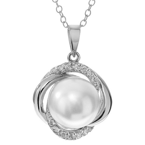 1/6 CT. T.W. Round-cut CZ Pave Set Pearl Pendant Necklace in Sterling Silver - Silver (18), Women's