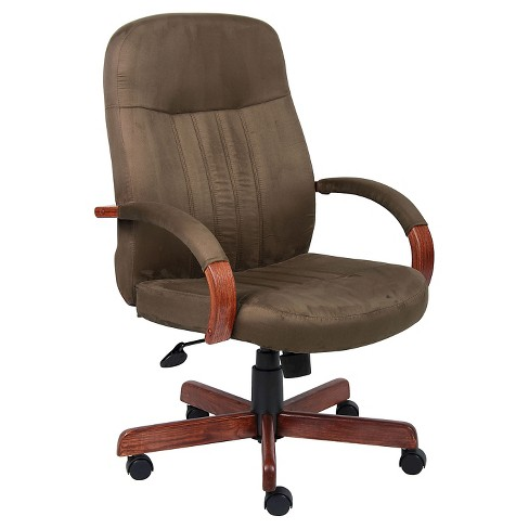 Microfiber Executive Chair with Dark Oak Finish Cappuccino - Boss Office Products - image 1 of 2