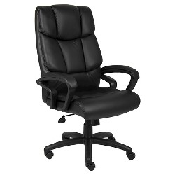 NTR Executive Top Grain Leather Chair Black - Boss Office Products