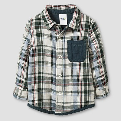 Baby Boys' Button Down Shirt Polished Leaf 12M - Genuine Kids™ from Oshkosh®
