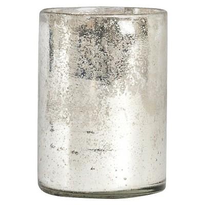 Glass Octagonal Hurricane Silver 5 x7  - Saro Lifestyle®