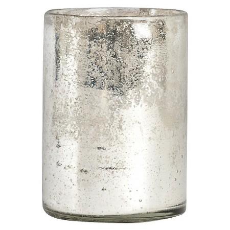 Silver Glass Octagonal Hurricane 5x7