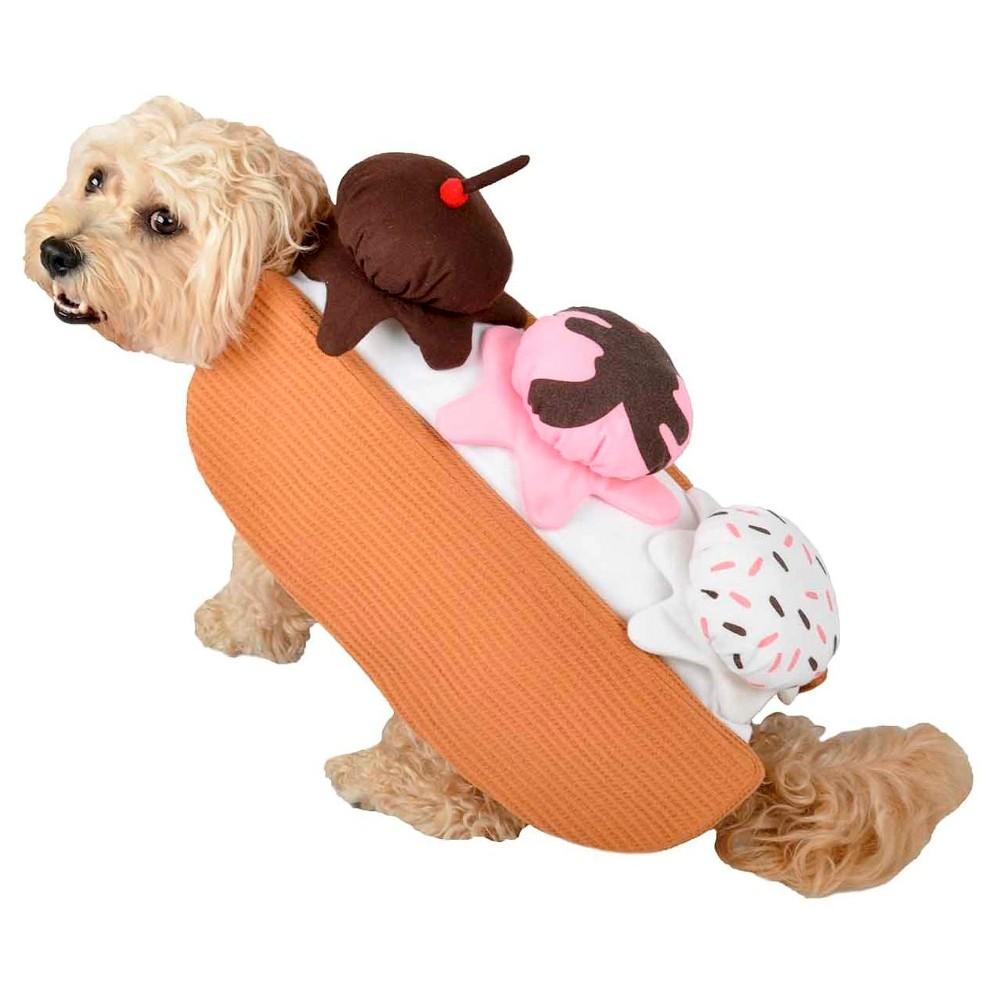 Halloween Icecream Dog Costume - Brown - X-Small, Brown Pink White