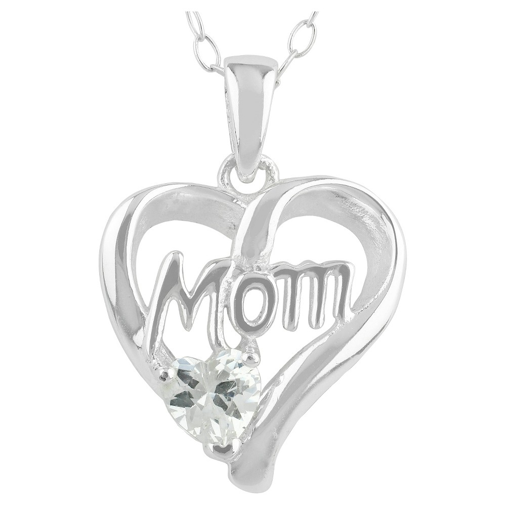 Womens Pendant Necklace Sterling Silver Heart Mom with Cubic Zirconia-Silver/Clear (18), Silver/Clear