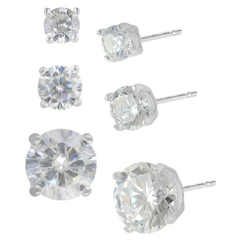 Women's Earring Sterling Silver Post Studs Three Pairs Round Cubic Zirconia -Silver/Clear - image 1 of 1