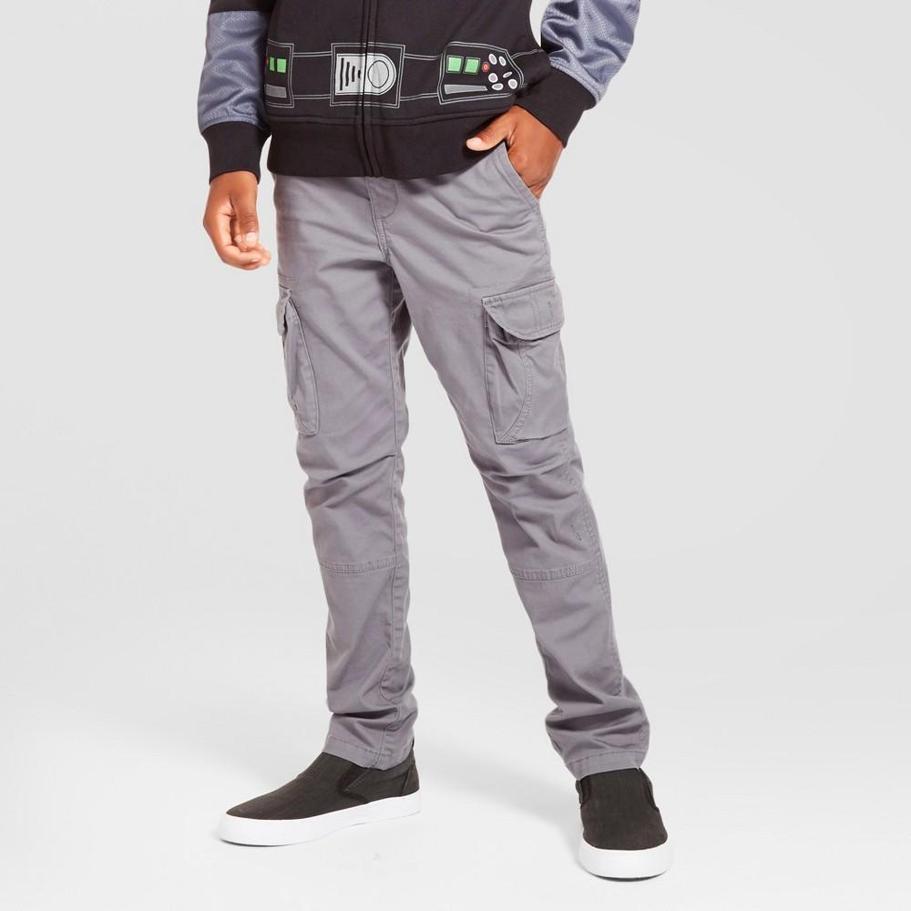 Boys Slim Fit Stretch Cargo Pants - Cat & Jack Gray 8 Husky