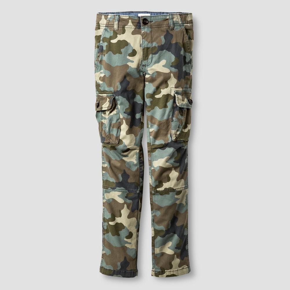 Boys Slim Fit Stretch Cargo Pants - Cat & Jack Camo Green 8 Husky