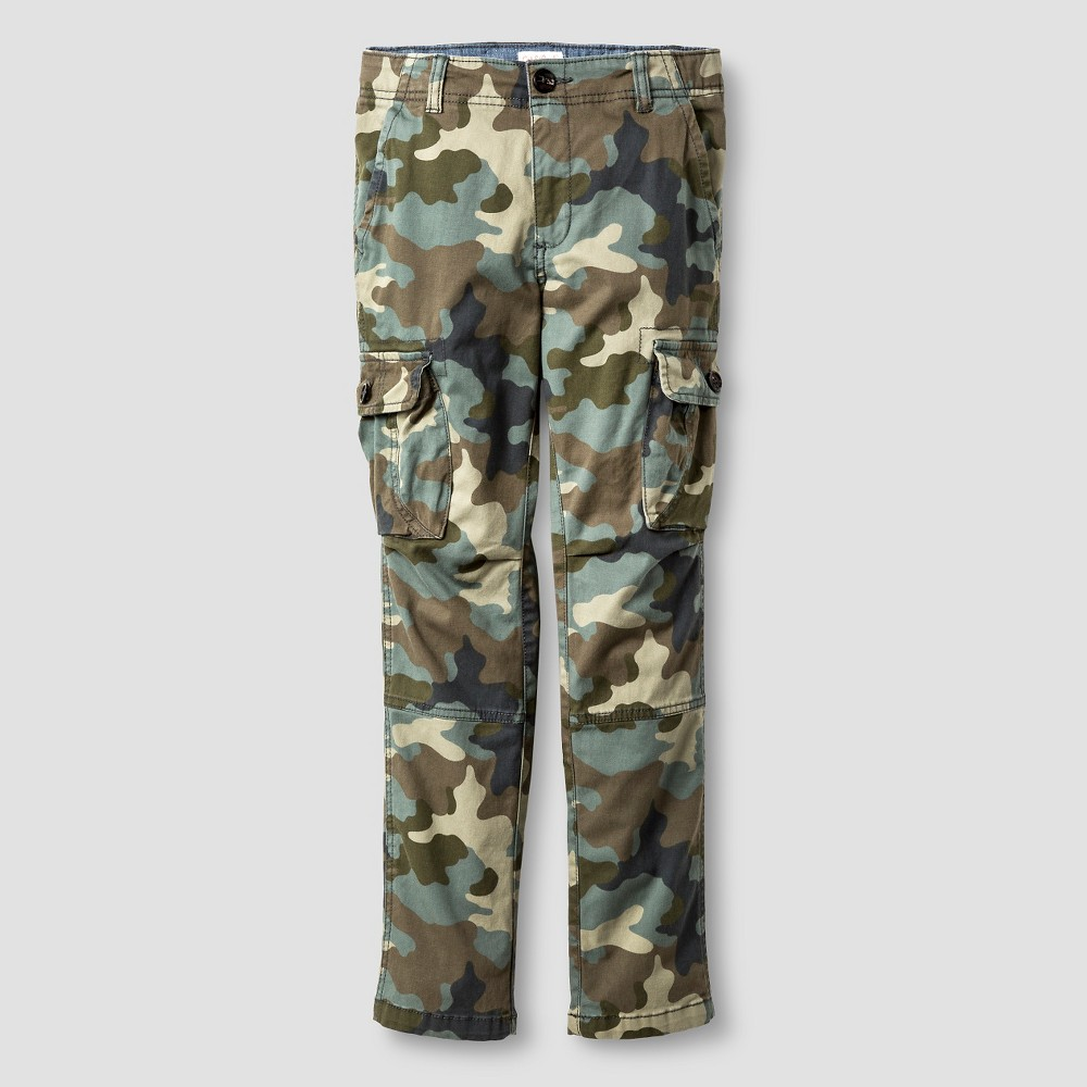 Boys Slim Fit Stretch Cargo Pants - Cat & Jack Camo Green 10 Husky