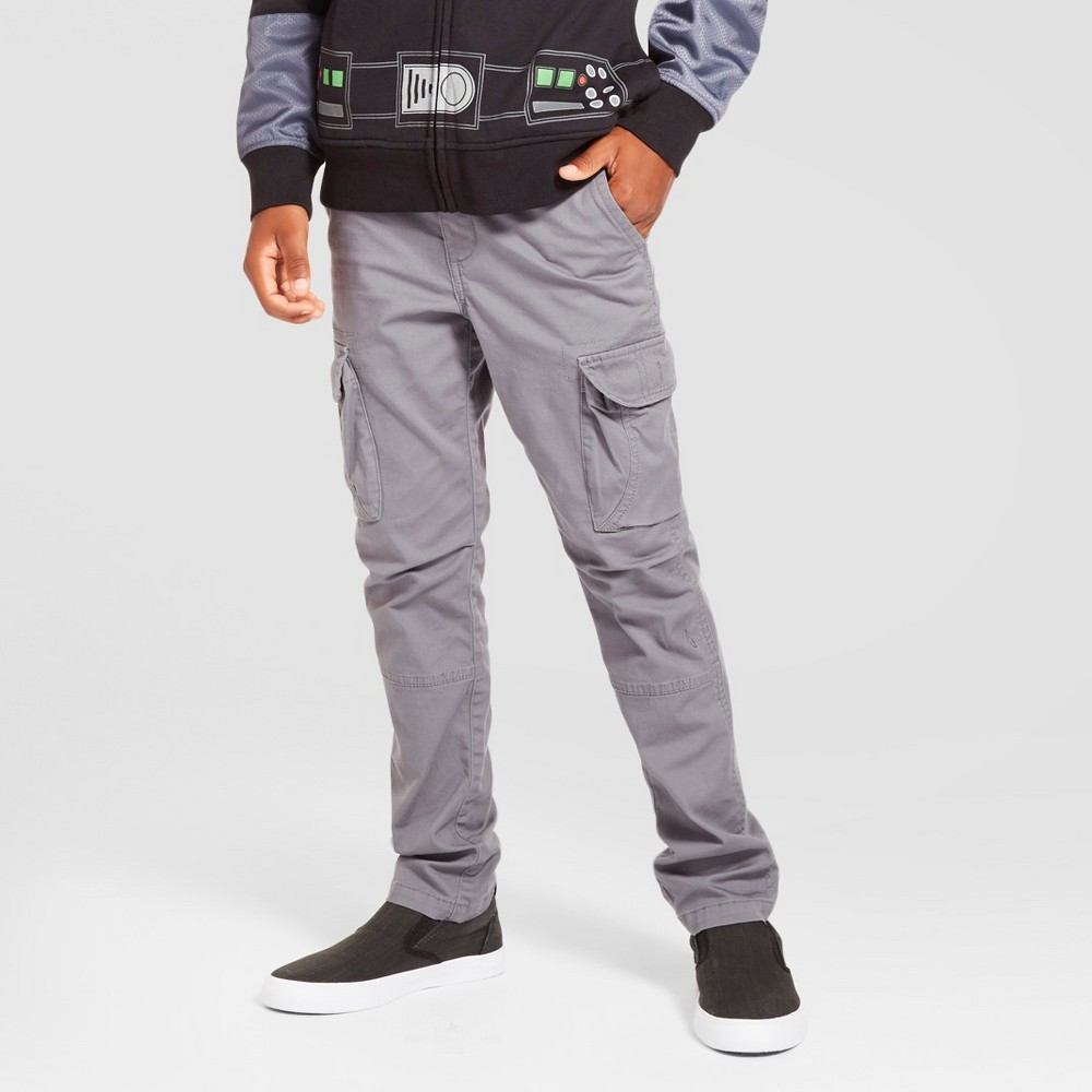 Boys Slim Fit Stretch Cargo Pants - Cat & Jack Gray 18 Husky
