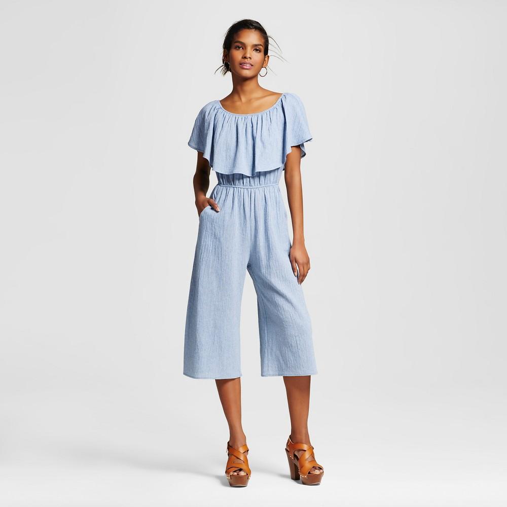 Womens Off the Shoulder Flounce Culotte Jumpsuit - Le Kate (Juniors) Light Denim L, Blue