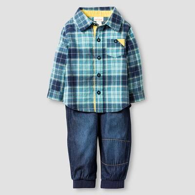 Baby Boys' Plaid Shirt and Denim Jogger Cat & Jack™ - Blue 12M