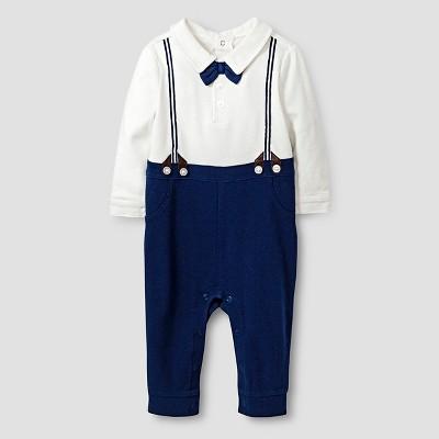 Baby Boys' Long-Sleeve Printed Bowtie and Suspenders Romper Baby Cat & Jack™ - Almond Cream/Blue 0-3M