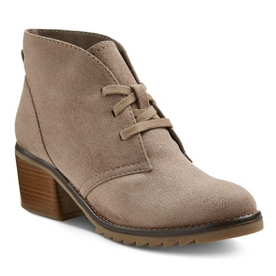 view Women's Agatha Booties - Taupe - Merona on target.com. Opens in a new tab.