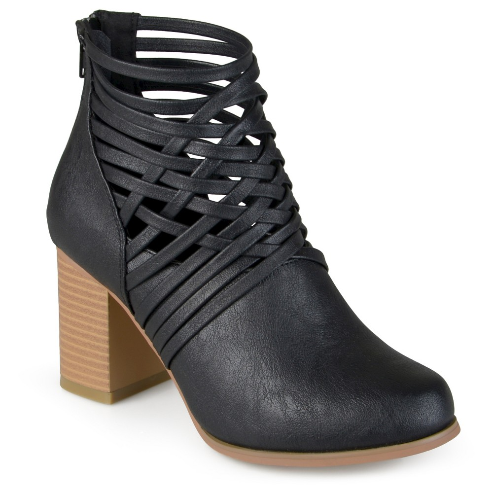 Womens Journee Collection Alicia Round Toe Strappy Booties - Black 7.5