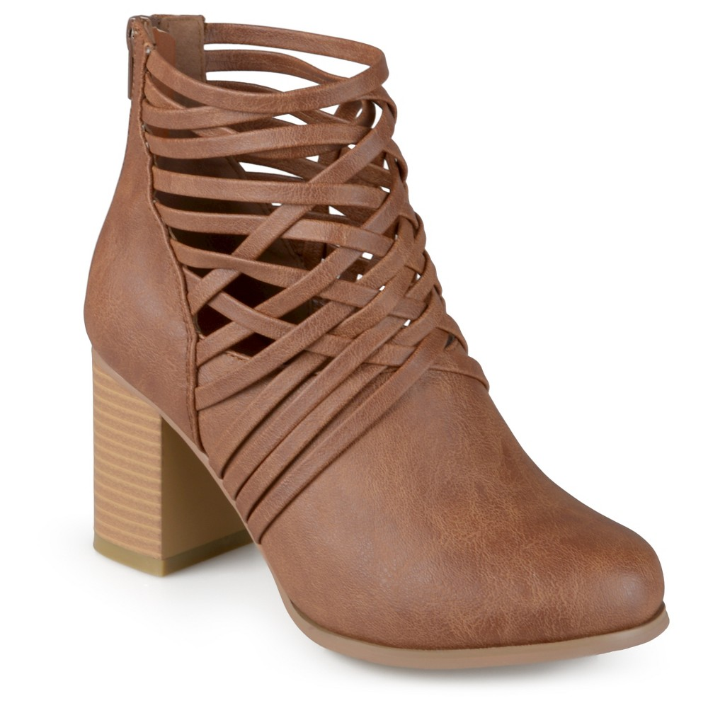 Womens Journee Collection Alicia Round Toe Strappy Booties - Dark Chestnut 6.5