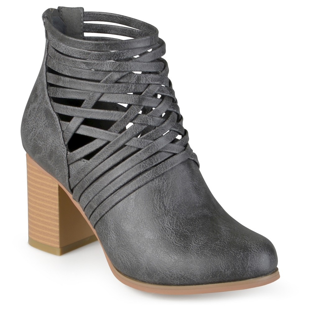 Womens Journee Collection Alicia Round Toe Strappy Booties - Gray 8.5