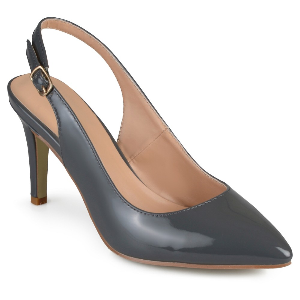 Womens Journee Collection Carol Almond Toe Slingback Pumps - Gray 9