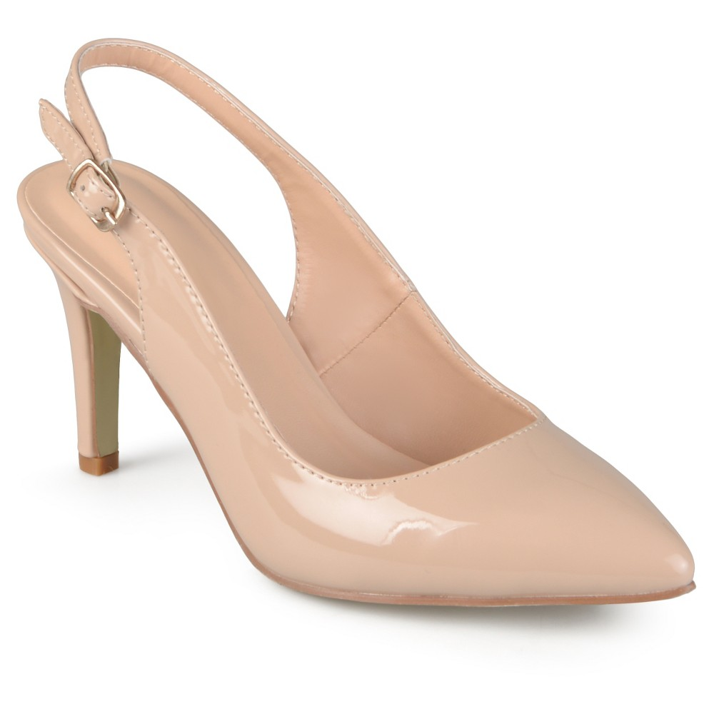 Women's Journee Collection Carol Almond Toe Slingback Pumps - Nude 7 plus size,  plus size fashion plus size appare
