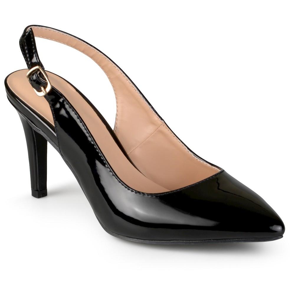 Women's Journee Collection Carol Almond Toe Slingback Pumps - Black 7.5 plus size,  plus size fashion plus size appare