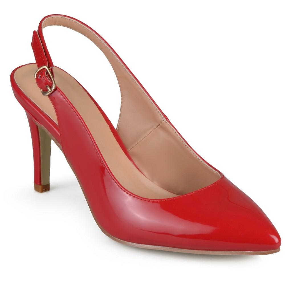 Womens Journee Collection Carol Almond Toe Slingback Pumps - Red 7.5