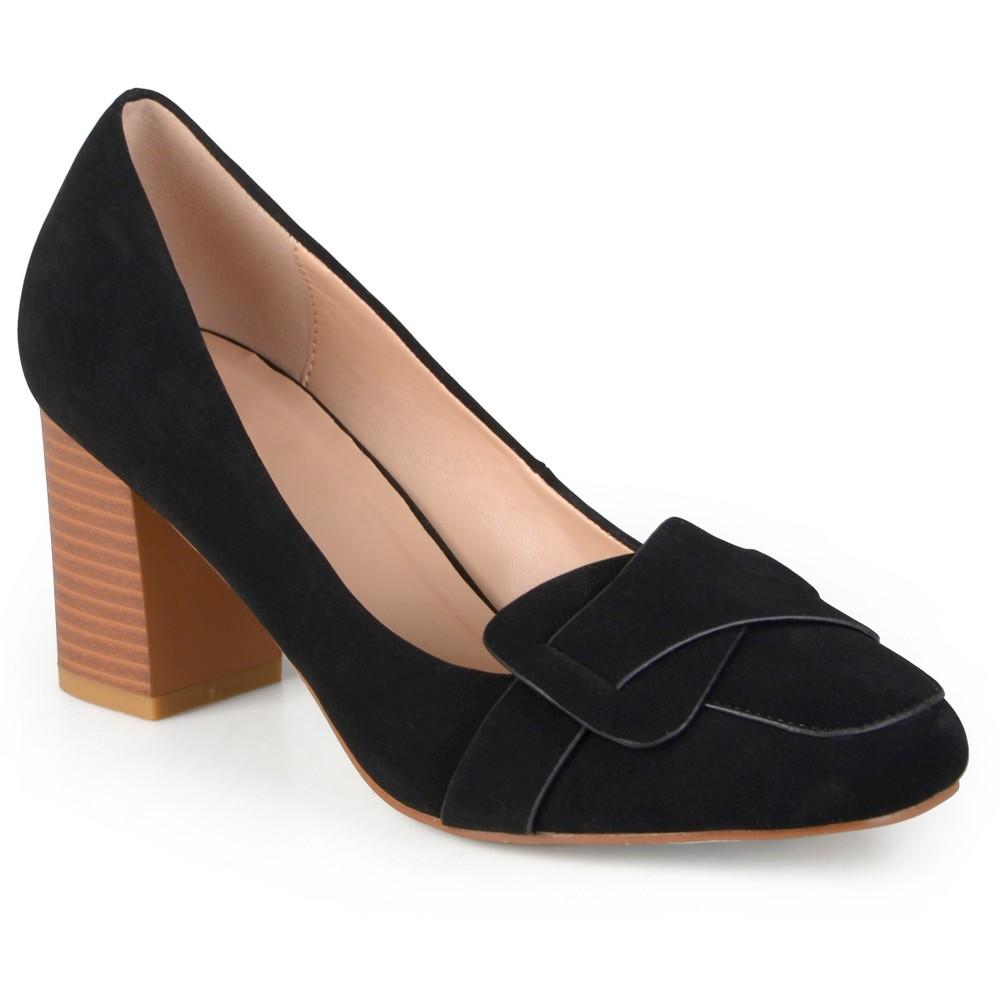 Womens Journee Collection Cass Vintage Mid Heel Loafer Pump - Black 6