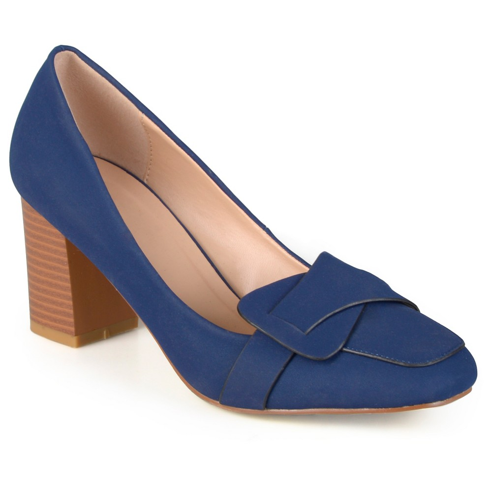 Womens Journee Collection Cass Vintage Mid Heel Loafer Pump - Navy (Blue) 7.5