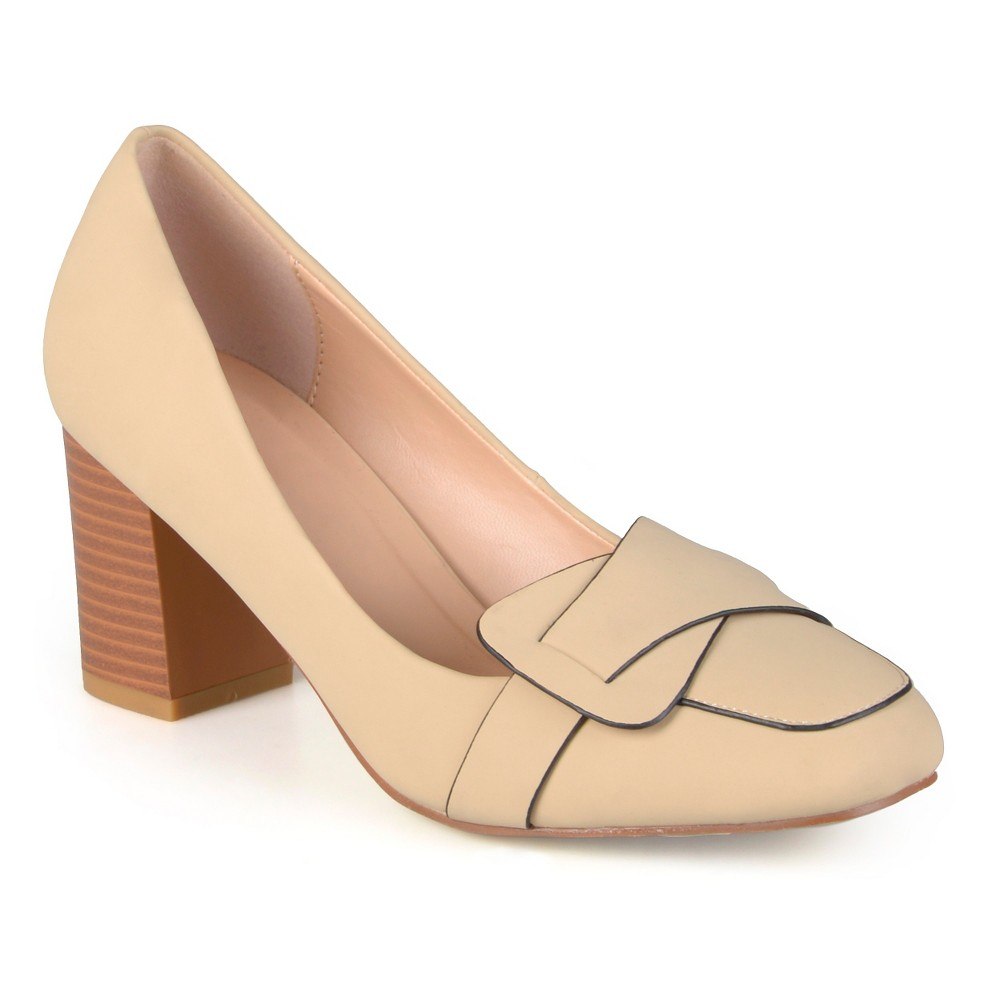 Womens Journee Collection Cass Vintage Mid Heel Loafer Pump - Nude 6