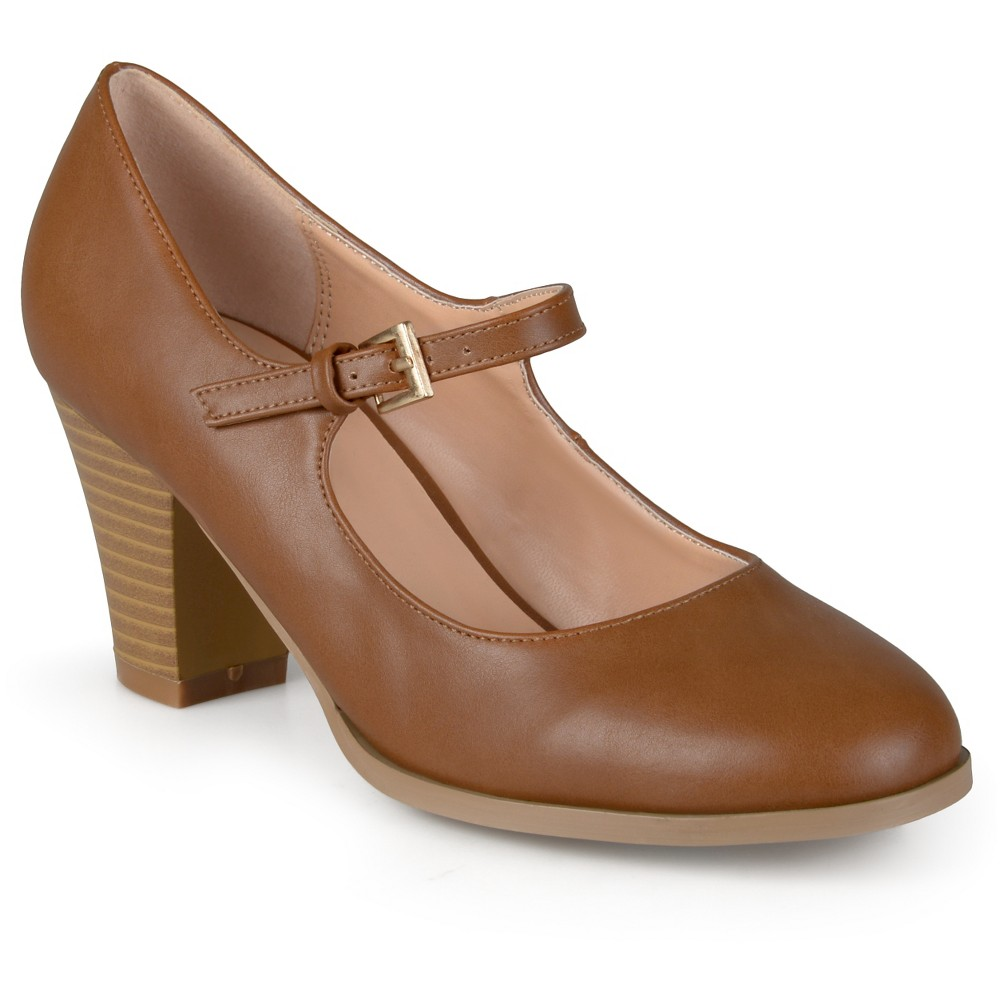 Womens Journee Collection Jamie Classic Mary Jane Pumps - Camel 7.5