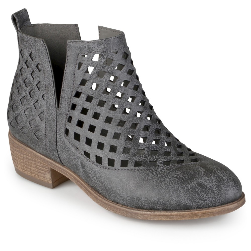 Womens Journee Collection Kat Cut-Out Caged Booties - Gray 8.5