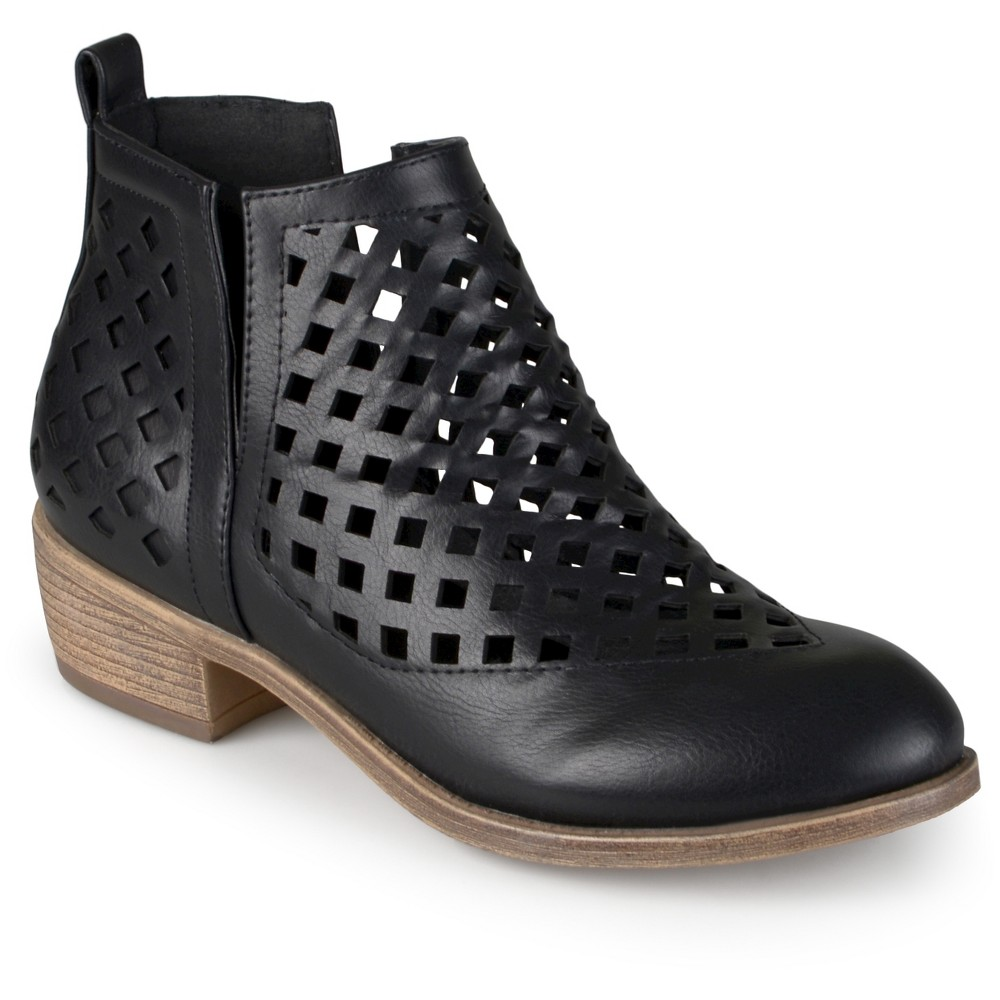 Womens Journee Collection Kat Cut-Out Caged Booties - Black 7.5