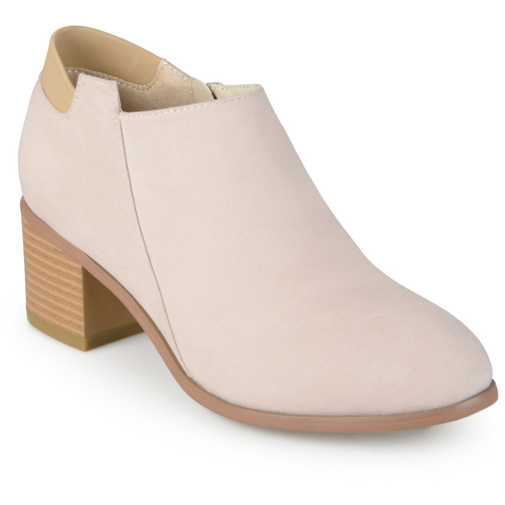 Womens Journee Collection Miley Faux Suede Booties - Bone (Ivory) 9