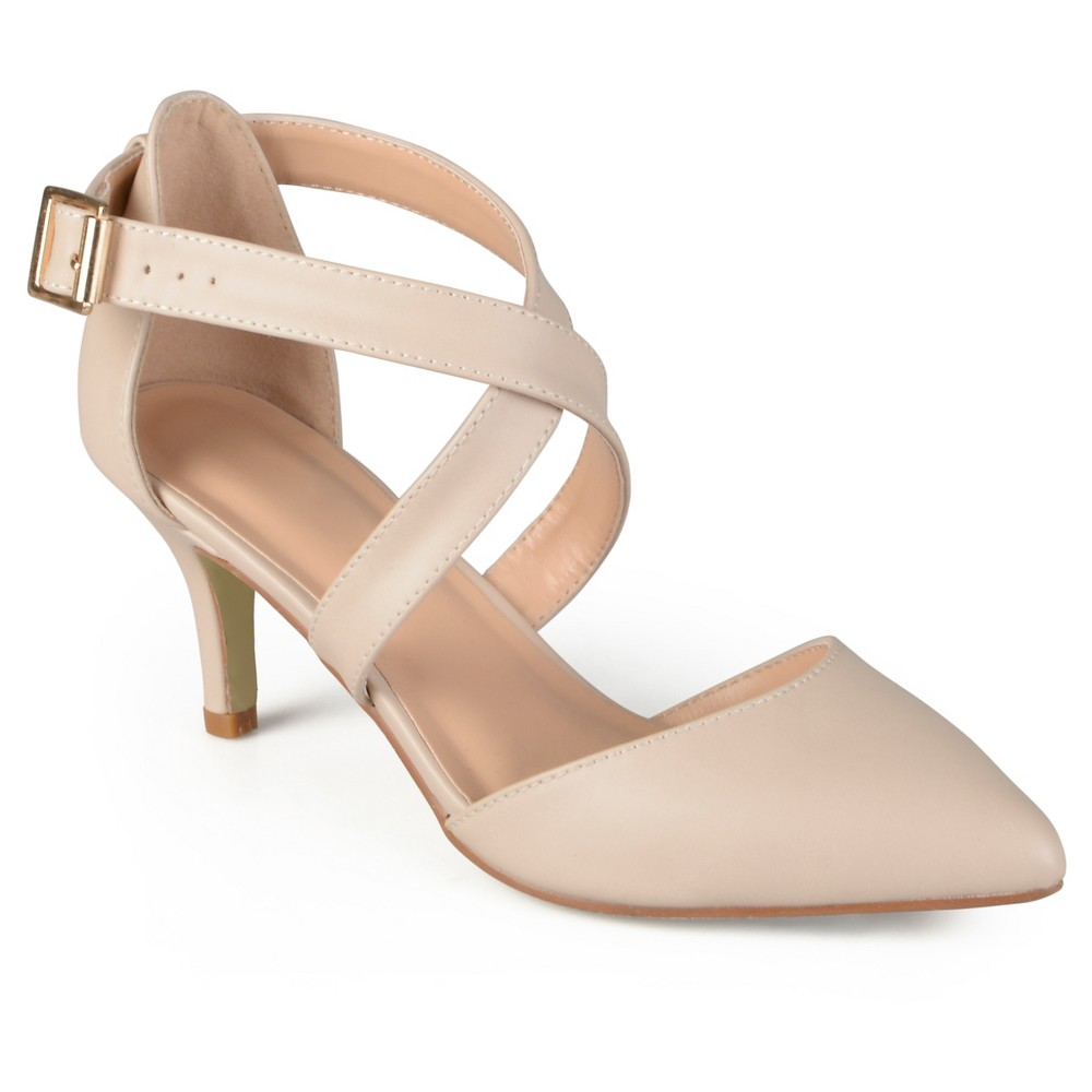 Womens Journee Collection Riva Pointed Toe Moatte Pumps - Nude 7.5