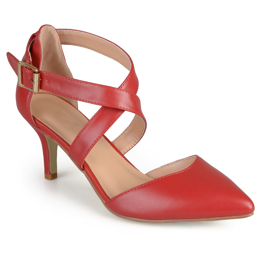 Womens Journee Collection Riva Pointed Toe Moatte Pumps - Red 8