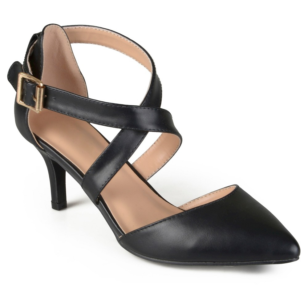 Womens Journee Collection Riva Pointed Toe Moatte Pumps - Black 6