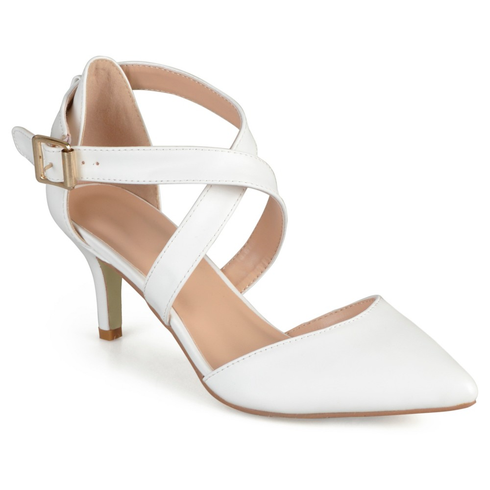 Womens Journee Collection Riva Pointed Toe Moatte Pumps - White 7