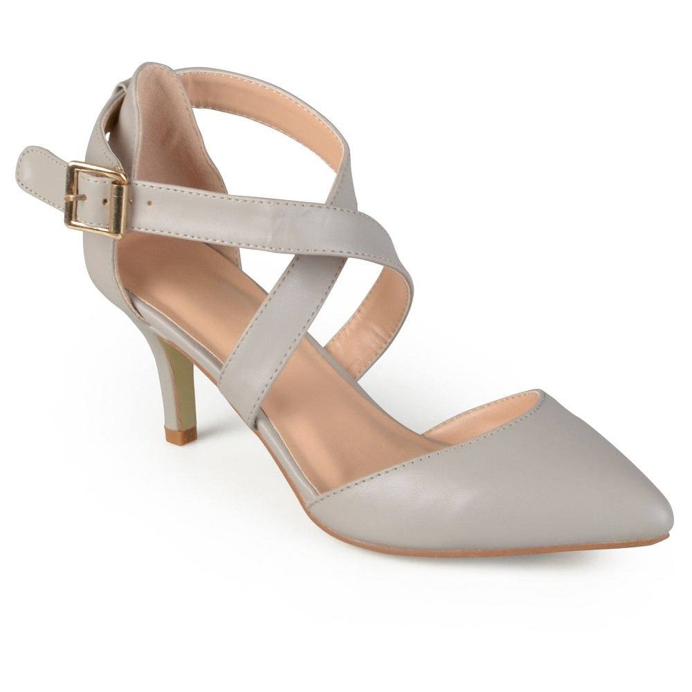 Womens Journee Collection Riva Pointed Toe Moatte Pumps - Gray 7