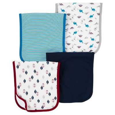 Just One You™ Made by Carter's® Baby Boys' 4pk Dino Burp Cloth Set - Blue