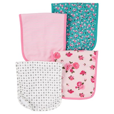 Just One You™ Made by Carter's® Baby Girls' 4pk Floral Burp Cloth Set - Pink