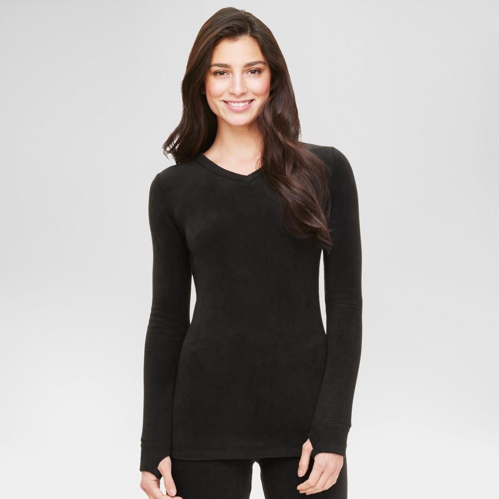 Warm Essentials by Cuddl Dudds Womens Stretch Fleece Long Sleeve V-Neck Top Black L