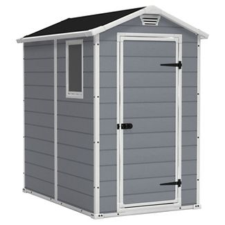 Keter Manor 4 x 6 Resin Storage Shed, All-Weather Plastic Outdoor Storage, Gray/White
