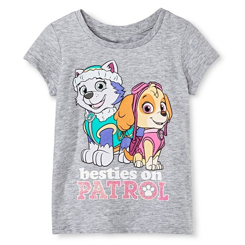 Toddler Girls' PAW Patrol  Skye and Everest Besties on Patrol T-Shirt - Heather Gray - image 1 of 1