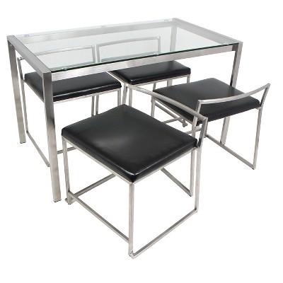 5 Piece Fuji Modern Dining Set Metal/Black PU Seat And Stainless Steel  Frame Finish   LumiSource